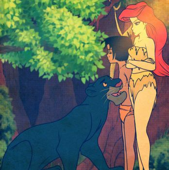 Bagheera Lecturing Ariel And Mowgli By Jessica Rae by SYFYNUT