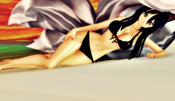 MMD - Ahri at the beach [4U] by Yukina234
