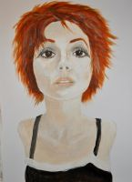 Acrylics Practice Redhead Portrait stage 2 by Forestina-Fotos