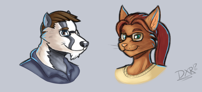 May 2017 - Weekly Sketch 2 - Badger and Cat by Duaxer