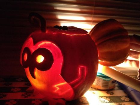 Machi the Kikwi Pumpkin by pinkfloydmadchen