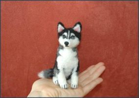 Needle Felted Siberian Husky by amber-rose-creations