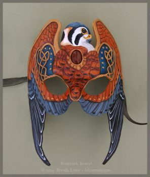 Knotwork Kestrel - Leather Mask by windfalcon