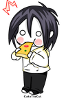 Jeff eating a pizza by CokoTheCat