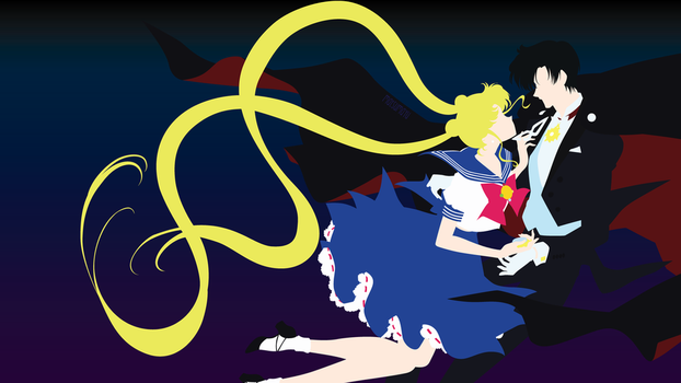 Tuxedo Kamen and Usagi from Sailor Moon|Minimalist by matsumayu