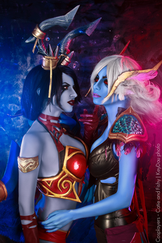 Queen of Pain and Vengeful Spirit dota 2 cosplay by amio-mio