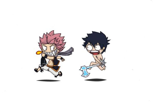 Fairy Tail: Natsu and Gray by scarletperiwinkle