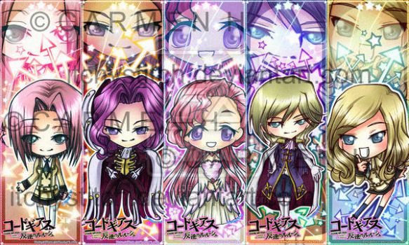 Code Geass Bookmarks--Set 2 by ItchyStitch