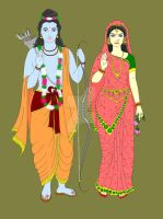 Lord Rama and Goddess Sita by Madhuchhanda