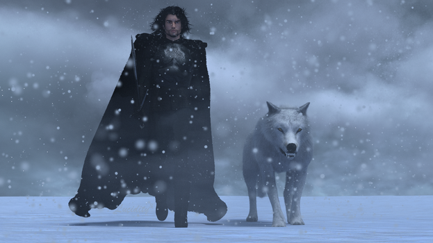 Jon and Ghost....Beyond the Wall by LucidityCubed