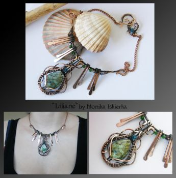 Liliane- wire wrapped copper necklace by mea00