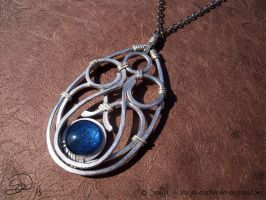 Handmade pendant with blue glass stone by sarya-atelier